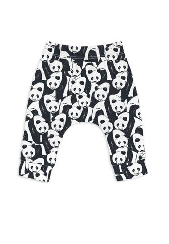 SLEEP NO MORE black and white Organic Baby Leggings / Pants - PANDA 2ED14KADCE74C3GS_1