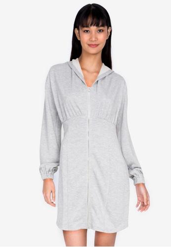 ZALORA BASICS grey Hooded Bodycon Dress 3CA5AAAC15D272GS_1