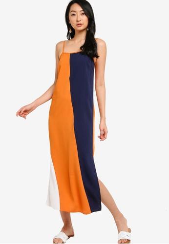 ZALORA BASICS multi Colourblock Cami Maxi Dress 1A023AAC6328B8GS_1