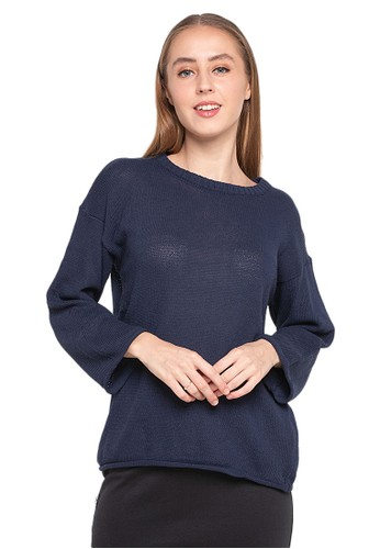 Evernoon blue Dallin Sweater Long Sleeves Atasan Wanita Design Kasual Good Quality - Navy 42E0AAA29C1C82GS_1