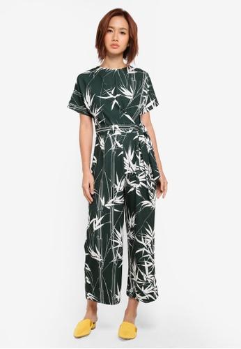 WAREHOUSE green Climbing Bamboo Print Jumpsuit 1AF97AA6D71386GS_1