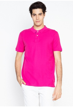 50366fe8583beb DEBENHAMS pink Maine New England - Contrast Placket Polo Shirt  E2518AA1DFFF70GS_1