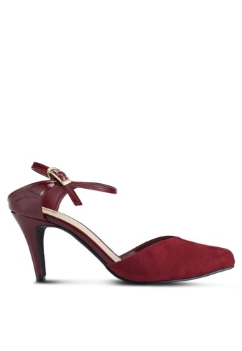 Bata 紅色 尖頭麂皮繞帶高跟鞋 D3276SH0271F89GS_1