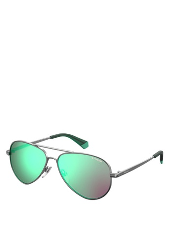 Polaroid Kids green and silver 8015/N/NEW Sunglasses 49696KC152173EGS_1