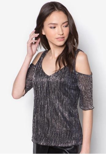 Petitzalora 折扣碼e 銀色挖肩V 領上衣, 服飾, 嬌小尺寸