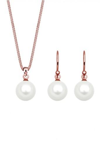 Elli Germany gold Perhiasan Wanita Perak Asli - Silver Perhiasan Set Classic Mutiara Rosegold Plated EL948AC71YZCID_1