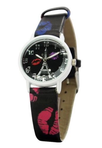 World of Watches black OLJ Kiss Eiffel  Leather Strap Watch A2449 WO566AC36NBZPH_1