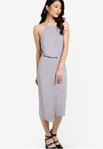 ZALORA grey Collection Drape Detail Dress A1B0AAA33CF188GS_1