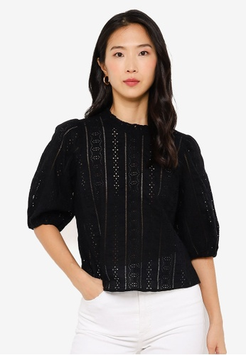 Abercrombie & Fitch black Open Work Blouse 6C3C4AAD8F5561GS_1