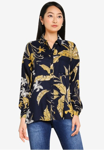 ONLY multi and navy Palm Life Shirt 6010DAA700640BGS_1