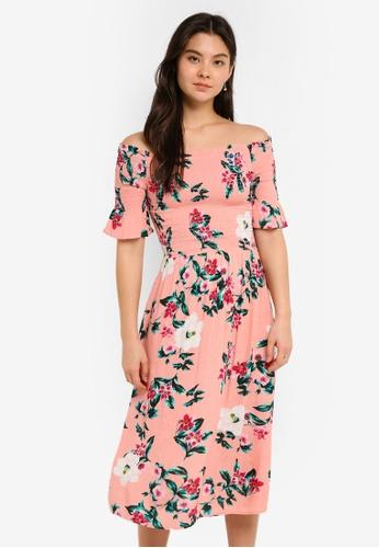 Dorothy Perkins pink Pink Tropical Shirred Midi Dress E96DFAADA1725BGS_1
