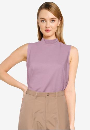The Duo purple Sleeveless Knit Top E9D44AA9131BA8GS_1