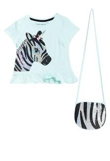 Bluezoo Kids Girls/' Pink Sequin Zebra T-Shirt And Bag