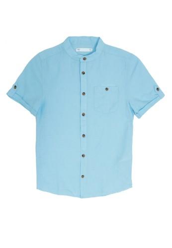 MARKS & SPENCER blue Linen Rich Shirt With Pocket F3EADKACEBC609GS_1