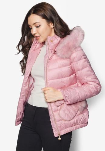 皮草連帽尼龍esprit官網羽絨外套, 服飾, 夾克 & 大衣