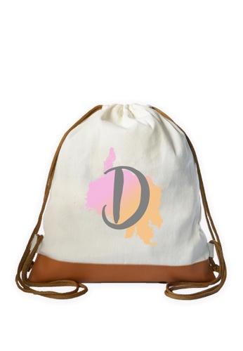 Myriad Print Concepts white Initial Drawstring Bag MY418AC0ILXAPH_1