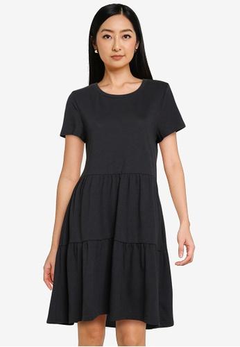 GAP black Ss Tiered Dress 5EC23AA98FDA5AGS_1