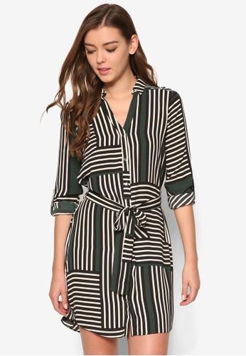 風格條紋襯衫連身裙, 服飾, esprit tw洋裝
