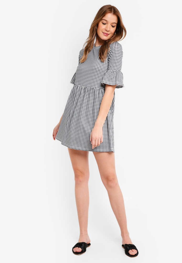 pack Ruffle Basic Black 2 Gingham Grey BASICS Shift Sleeves ZALORA Dress Marl qEffrd