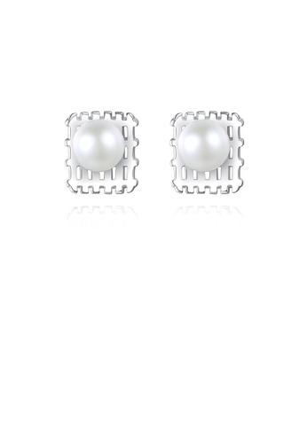 Glamorousky white 925 Sterling Silver Simple Fashion Geometric Freshwater Pearl Stud Earrings 28BDCAC3CBC613GS_1
