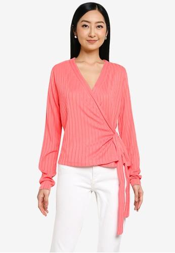 Noisy May orange Harriston Long Sleeves V-neck Knit Top 02DB5AA985AC61GS_1