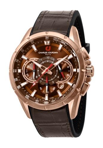 Charles Jourdan brown Charles Jourdan Men CJ1029-1542C Brown Silicone Leather Watch CH774AC0WAPOID_1