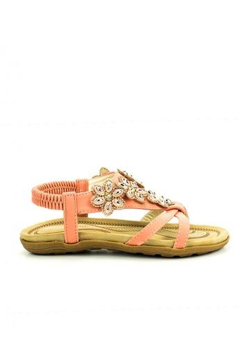Mario D' boro Runway n/a CR 24322 Peach Flat Sandals 03377KS4CFF7E5GS_1