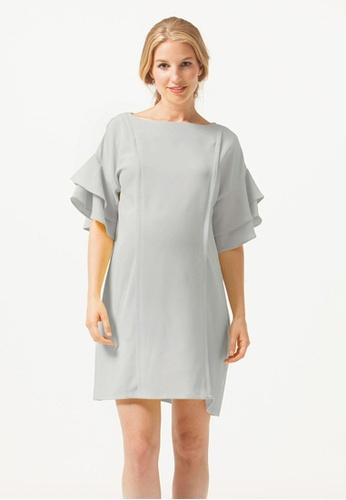 Bove by Spring Maternity grey Flare Sleeve Yulia Nursing Dress Grey ED16EAAABEDE98GS_1
