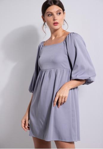 ZALORA OCCASION grey Puff Sleeve Square Neck Dress 41EBEAA205974EGS_1