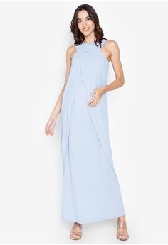 7d7b8225f6e Great Expectations blue Halter Maxi Nursing Dress 3C7C2AAA1EC5ADGS_1
