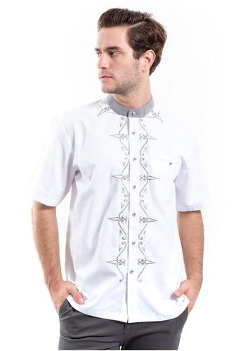 MANLY white Achnaf White Slim Fit Combination Shirt C7645AA2206C8DGS_1
