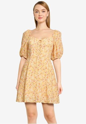Forever New orange Kaia Lace Up Mini Dress 9360CAAB63BE54GS_1