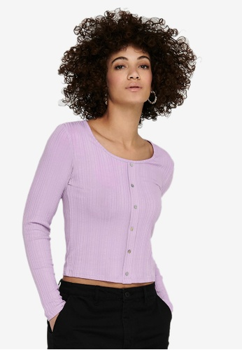 ONLY purple Caia Long Sleeve Button Top 88826AADB2D5E6GS_1