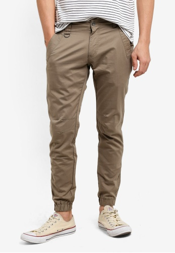 Sparrow Green brown Rex Ultra Stretch Slim Jogger Pants SP065AA63DBKMY_1