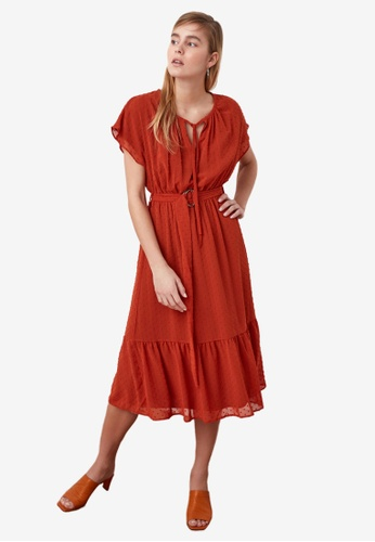 Trendyol red Belted Ruffle Midi Dress 47914AAAB93ADBGS_1