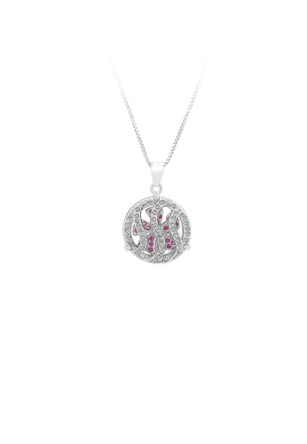 Glamorousky silver 925 Sterling Silver Windmill Pendant with Rose Red Cubic Zircon and Necklace CD108ACCF2D768GS_1