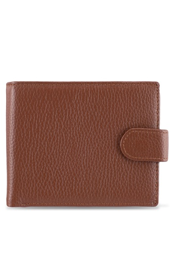 ZALORA brown Leather Wallet With Popper Clasp 0744BZZ32555ABGS_1