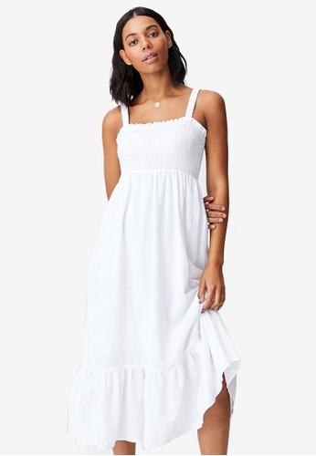 Cotton On white Woven Sophia Shirred Bodice Midi Dress DF988AAD631BEFGS_1