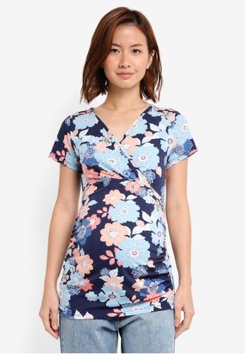 Dorothy Perkins navy Maternity Navy Short Sleeve Top DO816AA0T06ZMY_1