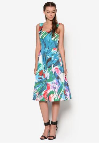 鈕扣吊帶印花連身裙, 服飾, 清新esprit服飾俏皮