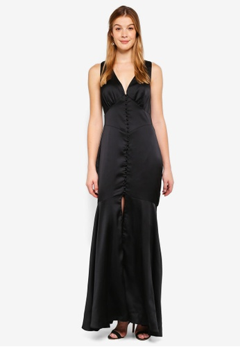 True Decadence black V Neck Sleeveless Maxi Dress FFA1DAA623B5ADGS_1