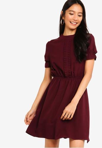 ZALORA 紅色 Pleated Front Mini Dress AA9A7AA42EB3A5GS_1
