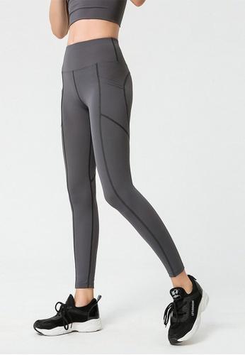 B-Code grey ZYG3047-Lady Quick Drying Running Fitness Yoga Sports Leggings -Grey 03625AA32D4D10GS_1