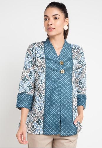 Batik Aksen Tropis blue Ayudia Blouse 2F180AA9AEBF5EGS_1