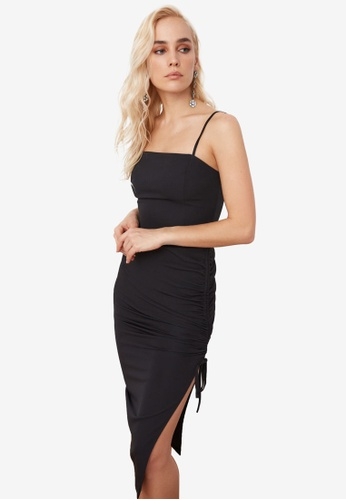 Trendyol black Side Slit Ribbon Tie Ruched Dress D02C5AAC31A08AGS_1