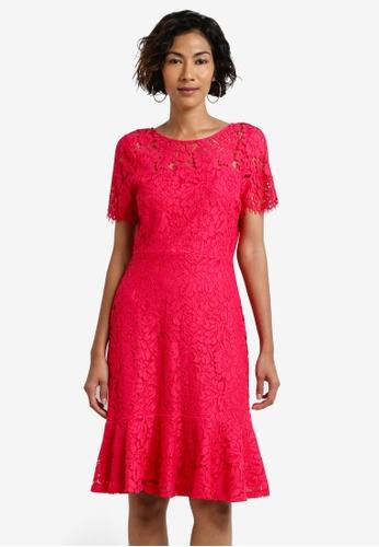Wallis pink Pink Peplum Hem Lace Fit And Flare Dress WA800AA0RCJ4MY_1