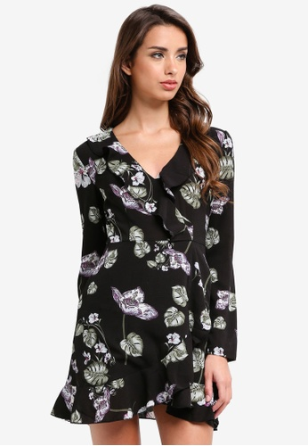 MISSGUIDED black Floral Long Sleeve Ruffle Tea Dress 4448EAA8670A78GS_1