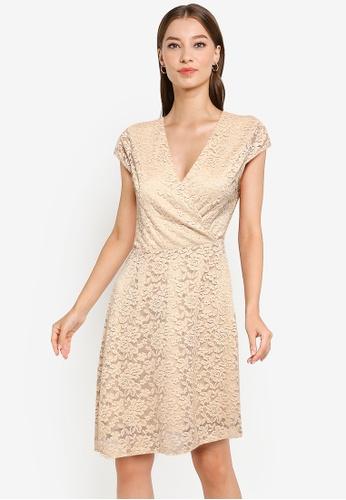 ZALORA WORK beige Cap Sleeve Lace Dress E64A2AA7079761GS_1