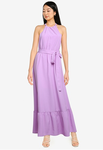 ZALORA BASICS purple Halter Neck Tiered Dress 7FBA0AADA4E315GS_1