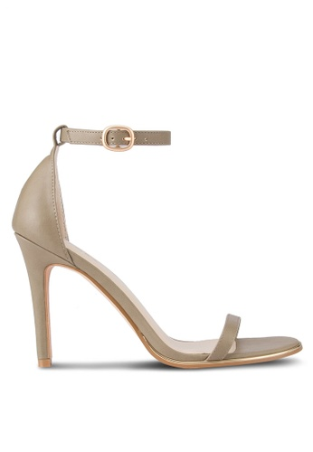 ZALORA grey and beige Ankle Strap Sandal Heels D6CA2SH772963FGS_1